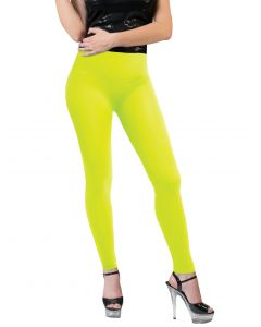 Funny Fashion Neon Solid Color Rave Basics Costume Leggings, Yellow, One-Size