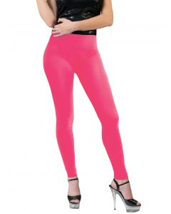 Funny Fashion Neon Solid Color Rave Basics Costume Leggings, Pink, One-Size