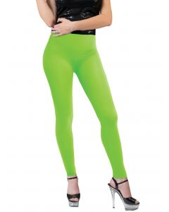 Funny Fashion Neon Solid Color Rave Basics Costume Leggings, Green, One-Size