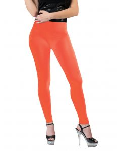 Funny Fashion Neon Solid Color Rave Basics Costume Leggings, Orange, One-Size
