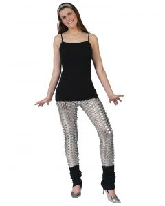 Fashion Metallic Shiny Solid 80's Costume Leggings w Holes, Silver, One-Size