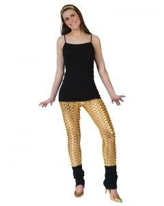 Funny Fashion Metallic Shiny Solid 80's Costume Leggings w Holes, Gold, One-Size