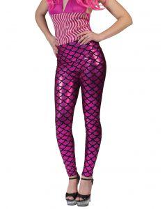 Mermaid Scales Shimmery Costume Leggings, Pink Black, Small/Medium 2-6
