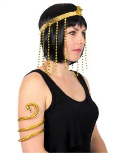 Cleopatra Egyptian Asp Headband & Bracelet Women Costume Set, Gold, One-Size
