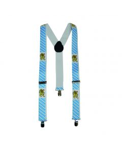 Oktoberfest Suspenders Lion Crest Suspenders, White Blue, One-Size