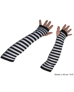 Funny Fashion Arm Warmer Elbow Convict Striped Gloves, Black White, One-Size