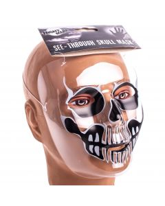 """Funny Fashion See-Through Skull Face Costume Mask, Black Grey, 7""""X7.5"""""""