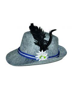 Funny Fashion Oktoberfest Tirol Hat with Feather Brim Hat, Grey, One-Size