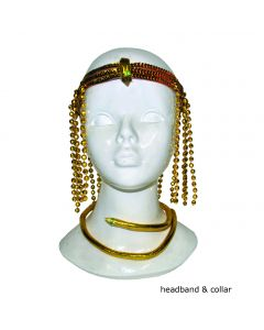 Egyptian Queen Headpiece Necklace 2pc Costume Accessory Set, Gold, One-Size
