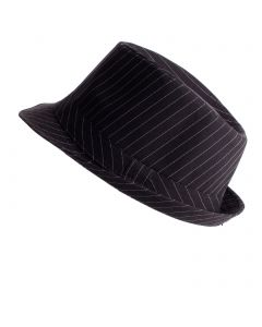 "Pinstripe Fedora Al Capone Gangster Costume Hat, 11""X9""X6"", Black White"