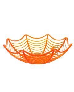 Funny Fashion Spider Web Halloween Basket Trick or Treat Serving Bowl, Orange