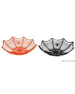 "Spider Web Halloween Decoration Basket 11""x3"" Trick or Treat Serving Bowl"