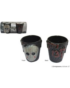 "Halloween Friday The 13th Jason 2.5"" Shot Glass Set, Red Black, 2 Pack"