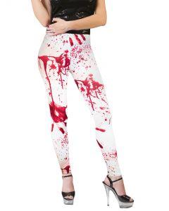 Women Bloody Lust Halloween Murder Costume Leggings, White Red, One-Size