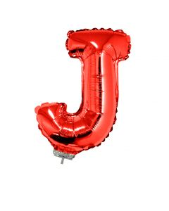 "Letter J Solid Mylar 16"" Mini Air Fill Jr Shape Foil Balloon w Stick, Red"