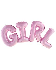 """Funny Fashion It's a GIRL Gender Reveal Jumbo 38"""" Foil Balloon Banner, Pink"""