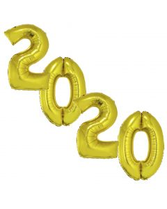 "Graduating Class Year 2020 Jumbo Shape Numbers 4pc 40"" Balloon Pack, Gold"