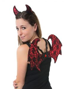 Fancy Lace Devil Ears Wings 2pc Women Costume Accessory Set, Red Black, One-Size