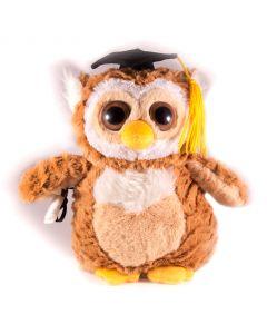 "Fiesta Smart Grad Owl w Diploma Graduation Gift Idea 9"" Plush Animal, Brown Tan"