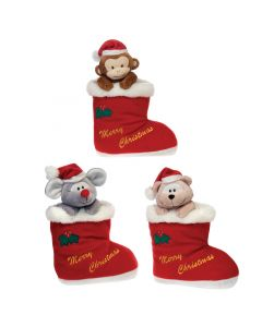 "Fiesta Christmas Mouse, Monkey, Bear in Stockings 3pc 10.5"" Plush Animals, Red"