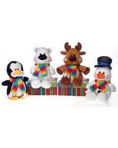 "Snowman, Deer, Penguin, & Bear w Scarves 4pc 8"" Plush Animals, Black White Brown"