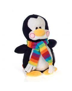 "Fiesta Christmas Penguin with Rainbow Scarf 9"" Plush Animal, Black White"
