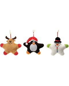 "Moose, Penguin, & Snowman Ornament 3pc 5"" Plush Animals, Black Brown White"