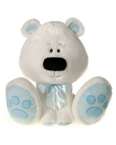 "Fiesta Sitting Christmas Polar Bear 11.5"" Plush Animal, White Blue"