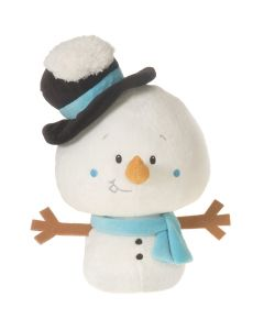 "Fiesta Christmas Bean Bag Snowman with Hat 6.5"" Plush Animal, White"