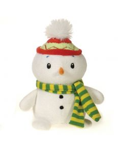 "Fiesta Mini Christmas Bean Bag Snowman 4.5"" Plush Animal, White"