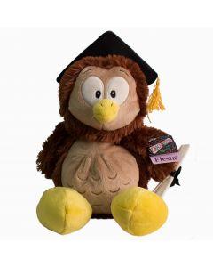 "Cute Cuddle Sitting Grad Owl w Cap & Diploma 10"" Plush Animal, Brown Yellow"
