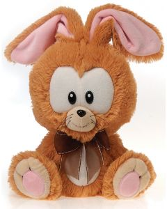"Fiesta Easter Big Head Bunny 11"" Plush Animal, Brown Pink"