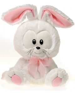 "Fiesta Easter Big Head Bunny 11"" Plush Animal, White Pink"