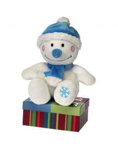 "Fiesta Sitting Holiday Snowman w Scarf & Hat 8.5"" Plush Toy, White Green"