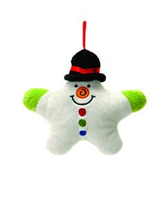 "Fiesta Festive Christmas Snowman 5"" Plush Animal, White Red Green"