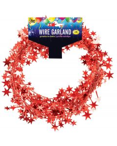 SKD Stars Graduation Decoration School Color 25 FT Wire Garland, Red