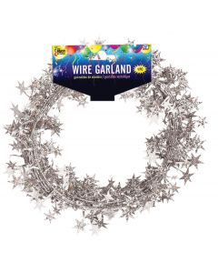 SKD Holographic Stars Graduation School Color 25 FT Wire Garland, Silver