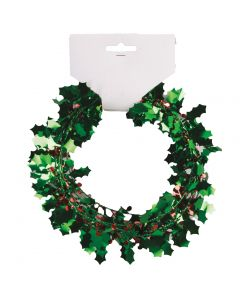Christmas Holly & Berries Holiday Decor Foil 25' Wire Garland, Green Red