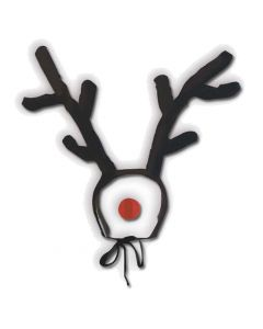Reindeer Antlers & Rudolph Nose 2pc Costume Accessory Set, Brown Red, One-Size