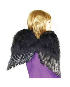 """Forum Fallen Angel Deluxe Feather Costume Wings, Black, One-Size 22"""" L"""