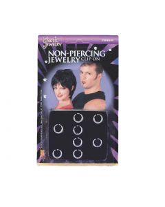 Forum Non-piercing Clip-on Jewelry Piercings, Silver, One-Size, 8 Pack
