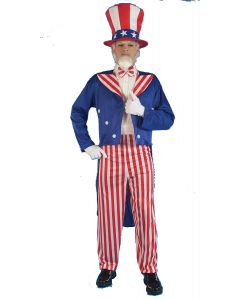 Forum Patriotic Red, White, and Blue Uncle Sam 4pc Adult Costume, One-Size