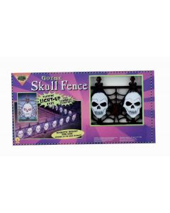 "Forum Light Up Gothic Skull Halloween 24.5""W Yard Fence, Black White, 2 Pack"