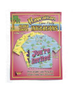 "Forum Hawaiian Luau Miniature Aloha Shirt 4.5"" Party Invitations, 12 Pack"