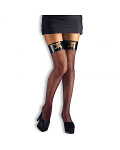 Forum Thigh High Skull and Crossbones Pirate Fishnet Stockings, Black, One-Size