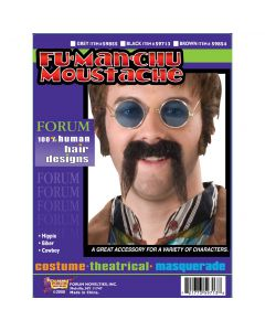 Forum Fu-Manchu Chinese or Hippie Costume Human Hair Moustache, Black, One-Size