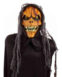 Halloween Horror Jack-O-Lantern Pumpkin Costume Mask, Orange Black, One-Size