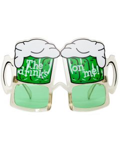 St Patrick's Day The Drinks On Me Beer Mug Goggles Party Glasses, Green