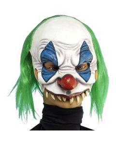 Forum Halloween Scary Evil Clown Face Mask, White Blue Green, One-Size