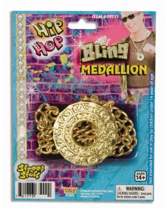 Forum Halloween Hip Hop Bling Disco Fever Medallion Necklace, Gold, One-Size